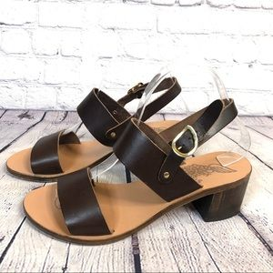 Ancient Greek Lefki Wood Block Heel Brown Sandals